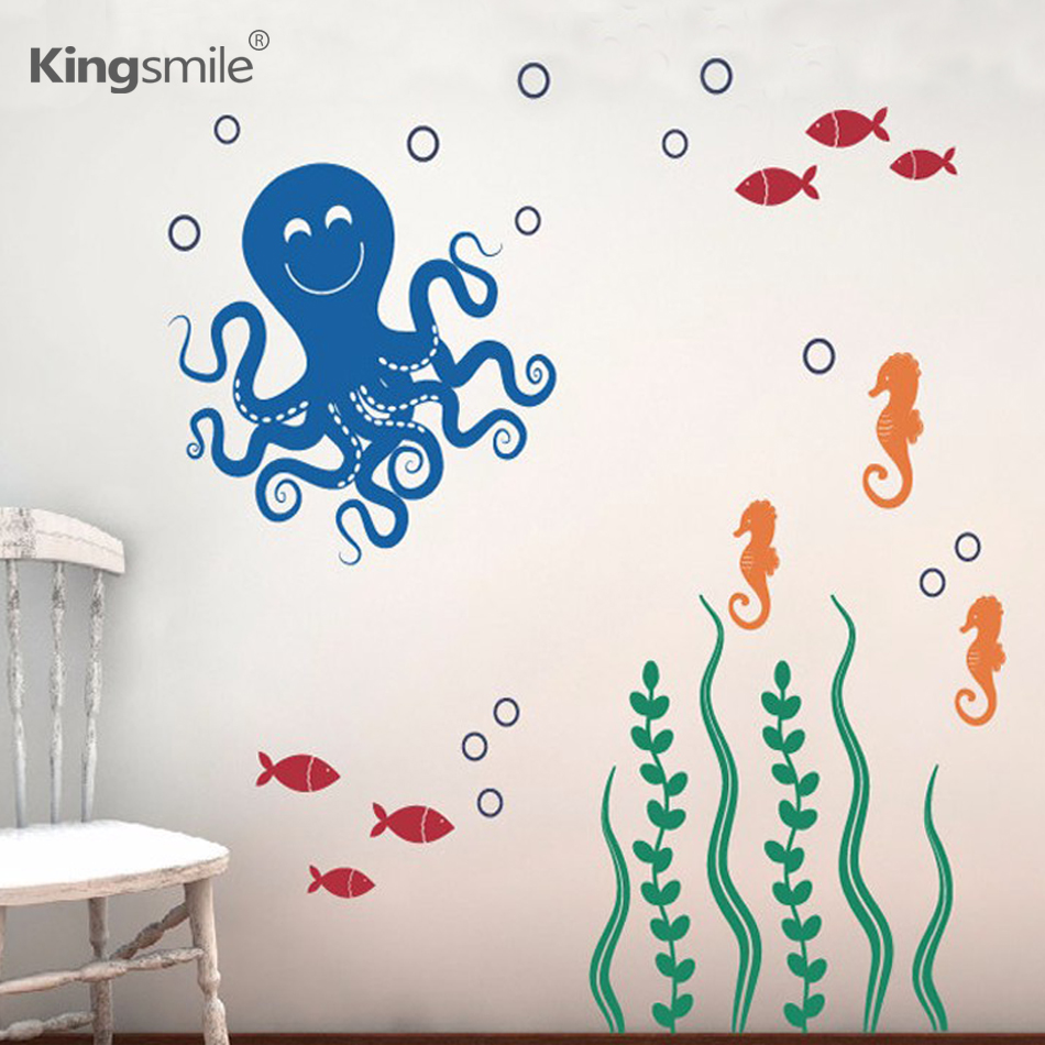 Modern Sea Ocean Octopus Seahorses Fish Vinyl Wall