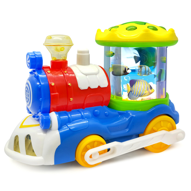 Electric trains underwater world swimming fish Baby Toys Infant with Music & Light Learning Toys for Children Xmas Gifts