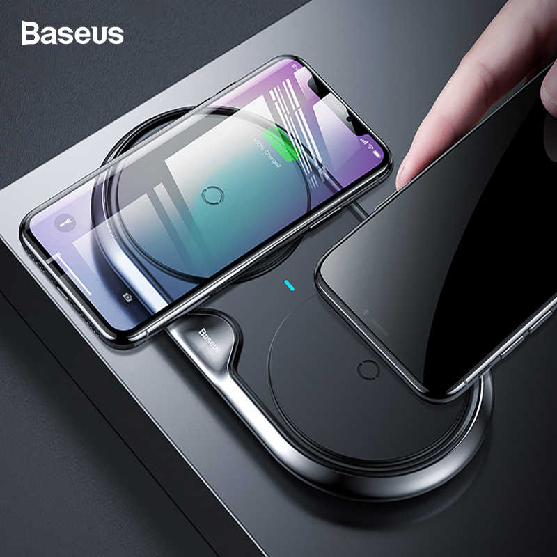 abf74daef4a Baseus 10W Dual 2 in 1 QI Wireless Charger For iPhone Xs Max X Samsung S10