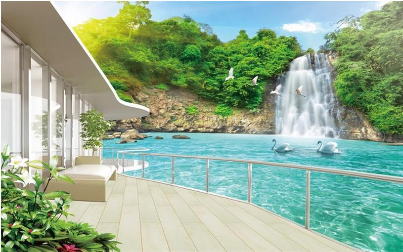 Modern Wall 3d Murals Wallpaper Beautiful Waterfall Scenery Balcony 3D Mural For Tv Sofa Background Papel De Parede In Wallpapers From Home