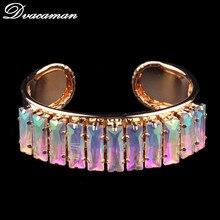Dvacaman Luxury Colorful Shinning Cuff Bangles Bracelets For Women Boho Trendy Statement Jewelry Wedding Brand Bangles 6323