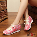 Vintage Bohemia Shoes Chinese Old BeiJing Tourism embroidered Floral singles walk dance canvas shoes size 34-40