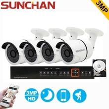 Sunchan 4ch 3mp cctv sistema hd tvi dvr 4 unids 2048*1536 TVI Hogar Sistema De Vigilancia de Cámaras de Seguridad CCTV Cámara Al Aire Libre con HDD