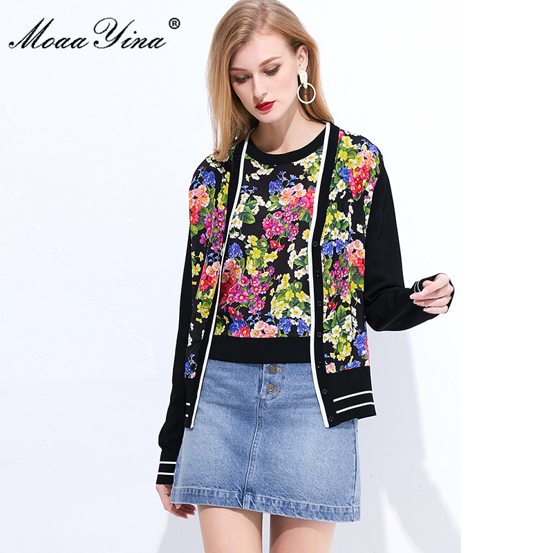 Image 5 - MoaaYina Spring Autumn V neck Long sleeve Knitting Tops Womens  Elegant Floral Print Silk Sweater Thin CoatCardigans