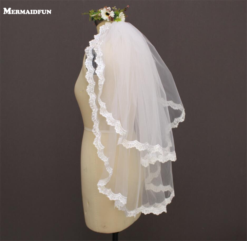 2019 To Lace Lace Edge Wedding Veil Med Comb New White Iovry Bridal Veil Voile Mariage