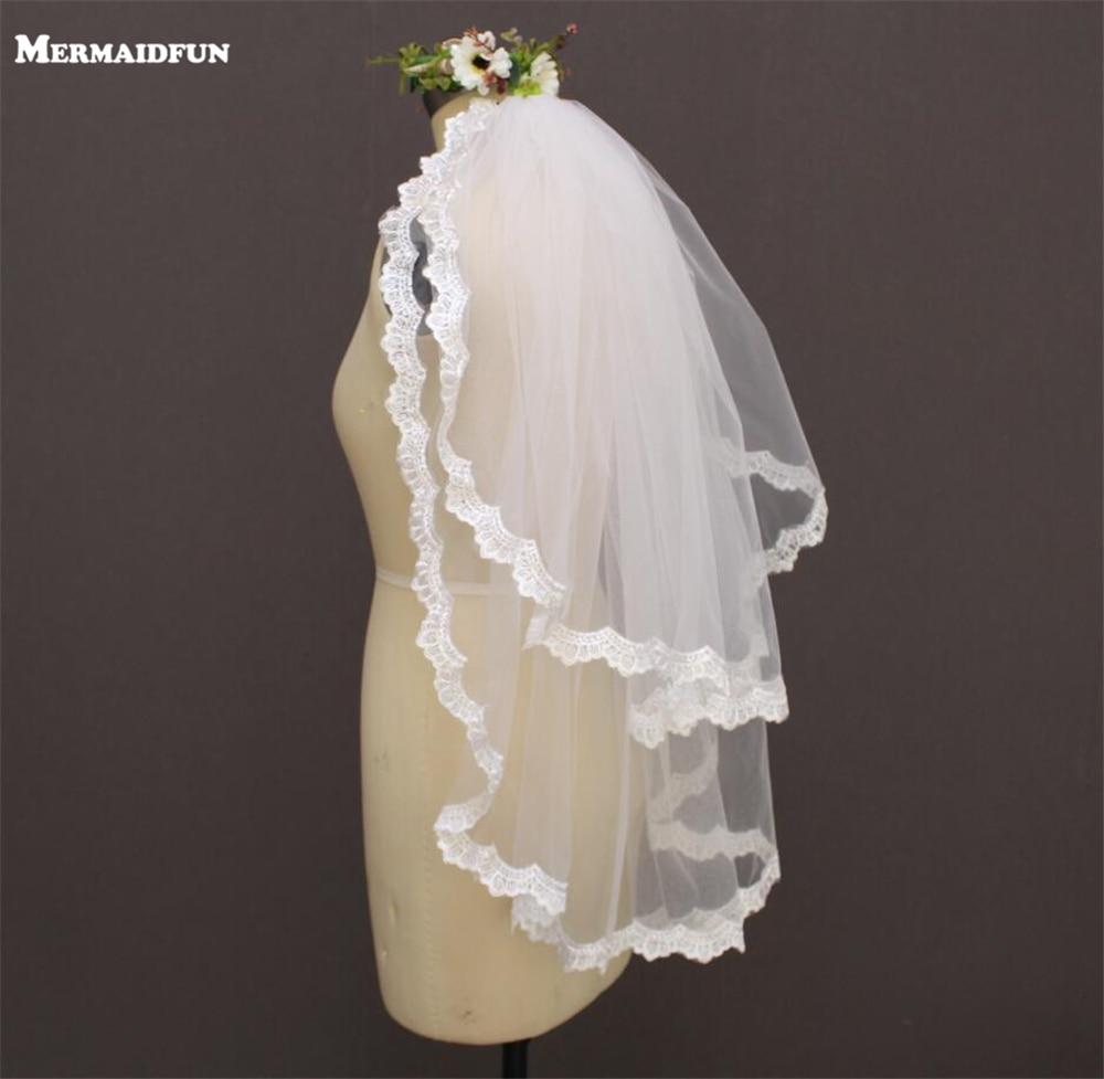 2019 Dos capas con borde de encaje Velo de novia con peine Nuevo Iovry velo de novia blanco Voile Mariage