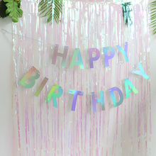 AVEBIEN13pcs Gradient Rainbow Cilver Flag HAPPY BIRTHDAY Birthday Letter Pull One Year Old Children Party Decoration Banner