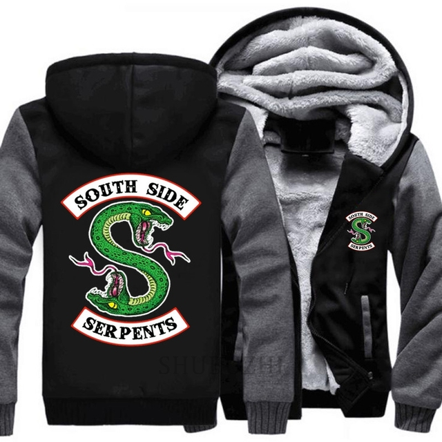 12b3eeb80f85 Riverdale mens thick hoodies South Side Serpents coat black men jacket  Jughead Jones Archie Andrews Men winter clothes