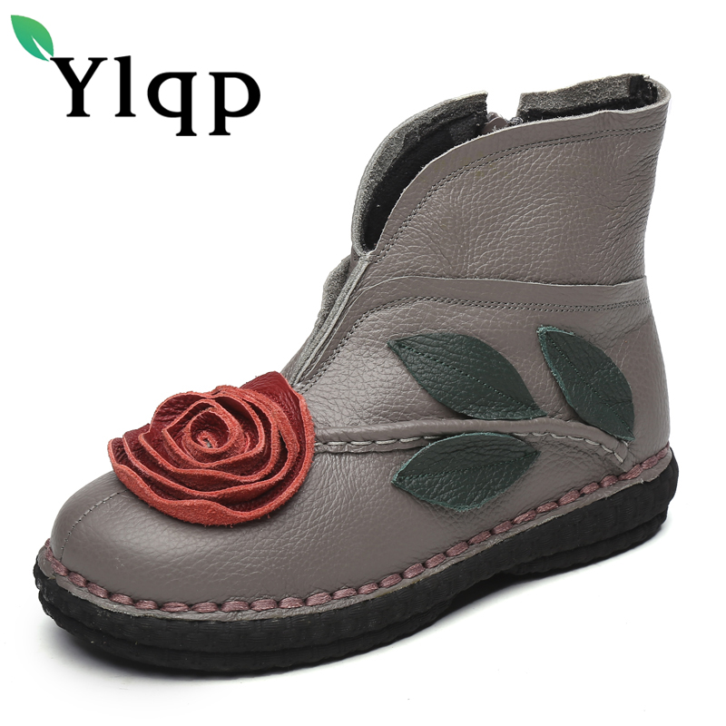 Ylqp 2018 New Spring Ankle Boots Female Vintage Women Shoes Flat Soles Students Genuine Leather Women Short Boots Zapatos Mujer