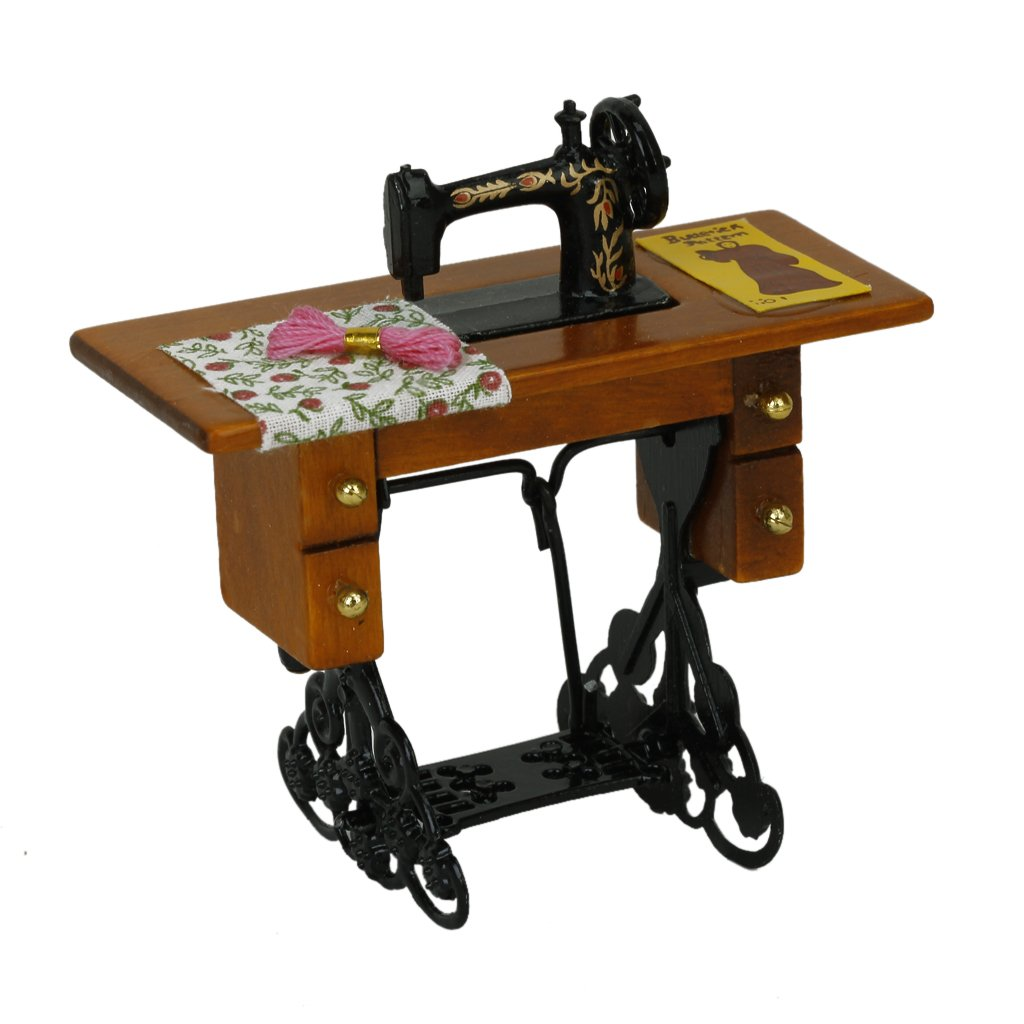 Vintage Miniature Sewing Machine With Cloth For 1/12 Scale Dollhouse Decoration