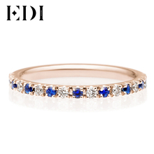 EDI Classic 18K Rose Gold 0.4cttw Sapphire Natural Diamond Wedding Rings For Band Women Fine Jewelry All-match Christmas Gifts