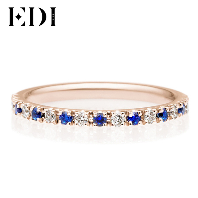 EDI Classic 18K Rose Gold 04cttw Sapphire Natural Diamond Wedding Rings For Band Women Fine
