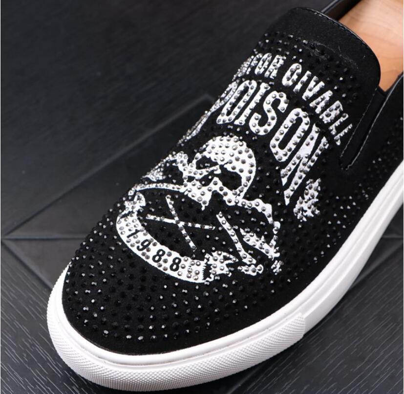 Men Glitter Shoes Mens Fashion rhinestone Casual Flats Men's Designer Dress Shoes Sequined Loafers Men's Platform Driving Shoes 28