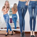 2017 Fashion Leggings Jeans for Women Denim Pants with Pocket Slim Leggings Fitness Plus Size Leggings S-XXL Black/Gray/Blue
