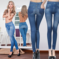 2017 Moda Leggings de Jeans para As Mulheres Denim Calças com Bolso Magro Leggings Aptidão Plus Size Leggings S-XXL Preto/Cinza/azul