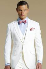 Latest Coat Pant Design Ivory White Beach Men Suit Slim Fit 3 Piece Summer Tuxedo Custom Groom Blazer Prom Suits Terno Masculino(China)
