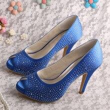Blue Sexy Shoes Open Toe Stiletto High Heel Platform Rhinestones Evening Party Pumps