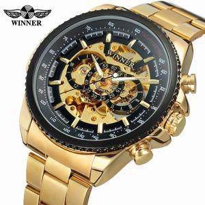 New Hot Winner 0352 Mens Watches Military Sport Clock Male Top Brand Luxury Skeleton Clocks Automatic Mechanical Steel Men Watch(China)