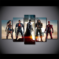 5 Panel Canvas Painting Movie Poster Justice League HD Poster And Prints Canvas Painting For Living Room Art Painting