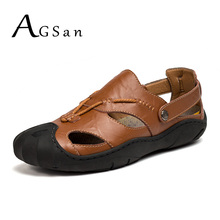 AGSan Summer Men Casual Shoes Breathable Genuine Leather Sandals Black Big Size 38-46 Mens Slippers Comfortable Zapatos Hombre