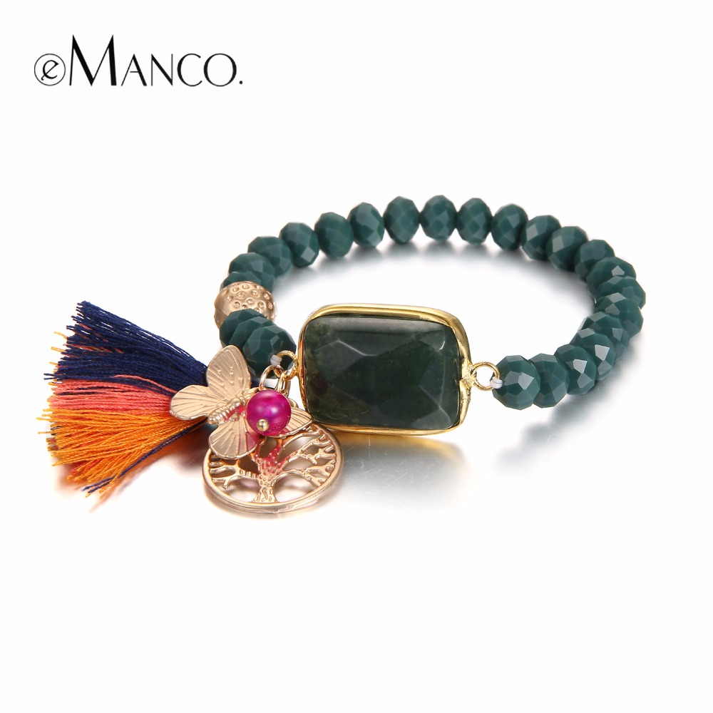 eManco Ethnic Bohemia Style Tassel Charms Bracelets for Women Dark Green Crystal Metal Bracelet & Bangle Jewelry цена