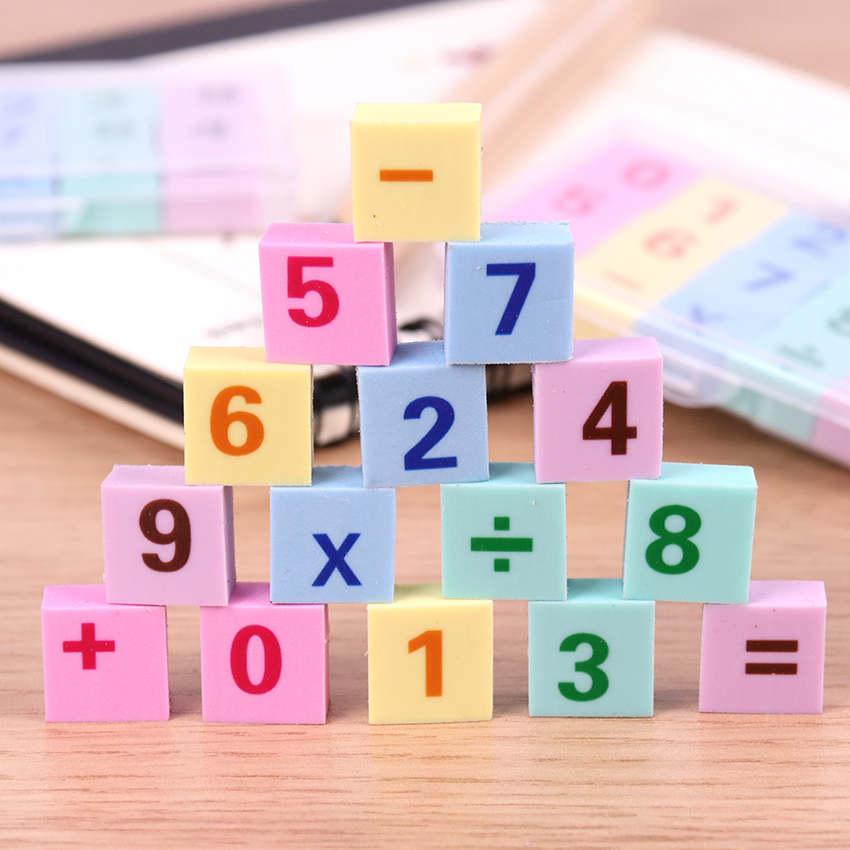 15PCS/box Cute Kawaii Number Eraser Creative Pencil Rubber Eraser For Stationery Kid Gift Office Correction Supplies