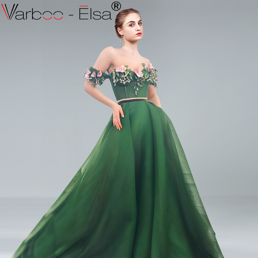 9b7c6c69a2 VARBOO ELSA sexy sweetheart off shoulder evening dress embroidery appliques  elegant A-line prom dress women formal gown vestidos