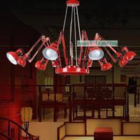 Склад Новинка паук светильник бар освещение люстры Офис Регулируемый красный черная люстра 6 Arm luminaria коммерческого освещения
