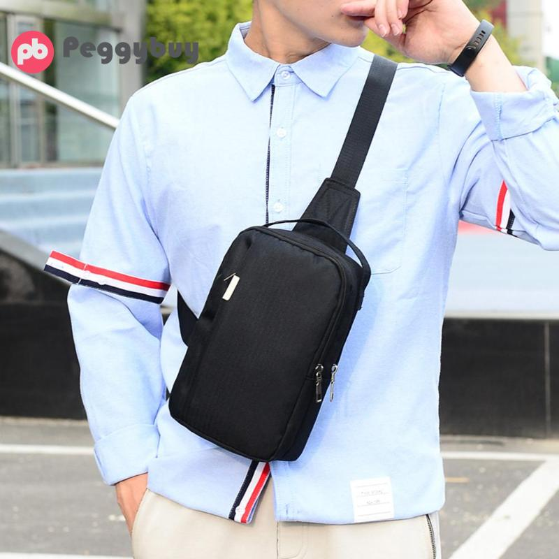 Peggy Buy Men Sling Bag Chest Messenger Bag Nylon USB Headphone Big Capacity Shoulder Bag Men Pack Crossbody Vertical Square Bag image