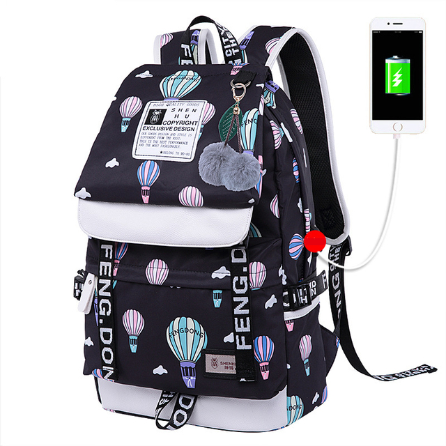 04a712dbaa Fengdong Cute Printing Nylon Bookbags USB charging School Backpacks For  Adolescent Girls Durable School Bag For
