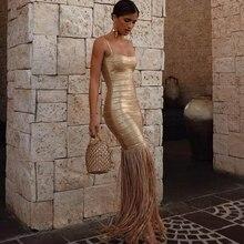 セクシーなノースリーブフリンジクラブドレスセレブイブニングパーティードレス 2020 Vestidos 新夏マキシタッセル女性包帯ドレス