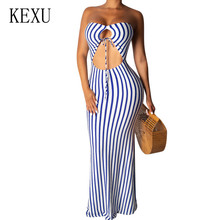 KEXU Summer Explosion Strapless Striped Sexy Dress Women Off Shoulder Hollow Out Bodycon Bandage Pencil Slim Blue