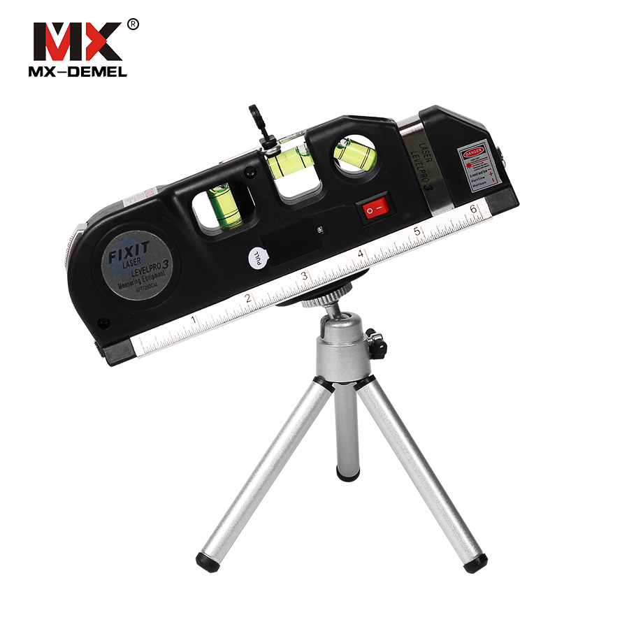 MX-DEMEL Laser Livello Verticale Linea di Misura Nastro Regolata di Serie Multifunzionale Righello Orizzontale Laser Strumento Livello del Laser