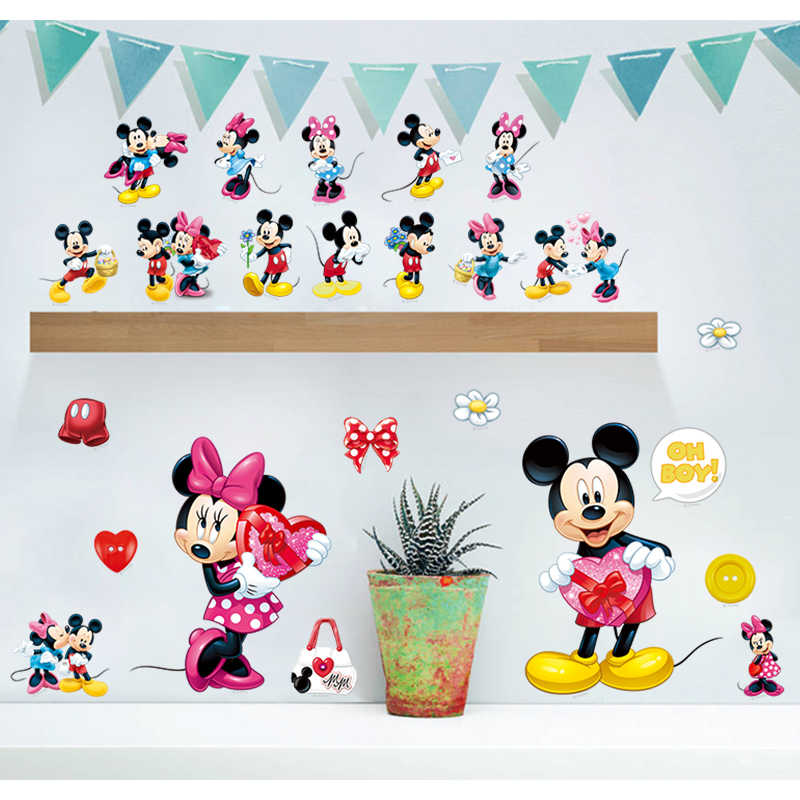 Cartoon Mouse Wall Stickers For Kids Rooms Boys Girl Room decor refrigerator window Wall Decals Diy Art Game Poster