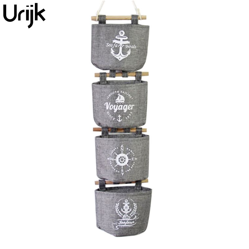 Urijk 4 Teile/satz Wandbehang Aufbewahrungstasche Organizer Navy Leinen Schrank Hängeablagekörbe Für Küche Badezimmer Wohnzimmer