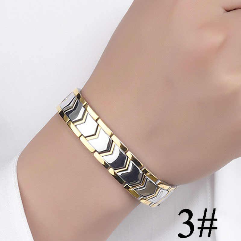 Złoty kolor srebrny magnetyczne bransoletki mężczyzn ze stali nierdzewnej germanu energii magnes zdrowie bransoletki kobiety ręcznie łańcuch bransoletki