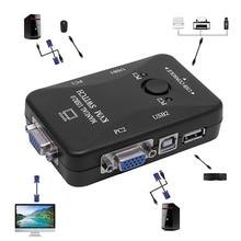 Руководство 2 порта USB 2,0 KVM VGA переключатель коробка для 2 настольный компьютер, принтер мышь клавиатура Монитор C26