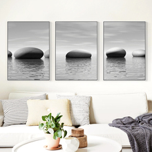 Gray Stone Seaside Meaning Landscape A4 Canvas Art Painting Print Posters Picture Wall Living Room Bedroom