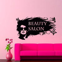 Beauty Salon Quotes Art Designed Wall Sticker With Modern Fashion Art Woman Pattern Special Wall Decal