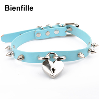 Hand Crafted Personalised Genuine Leather Choker Harajuku Spikes Collar Kawaii Silver Spiked Necklace With PadLock Heart Collars