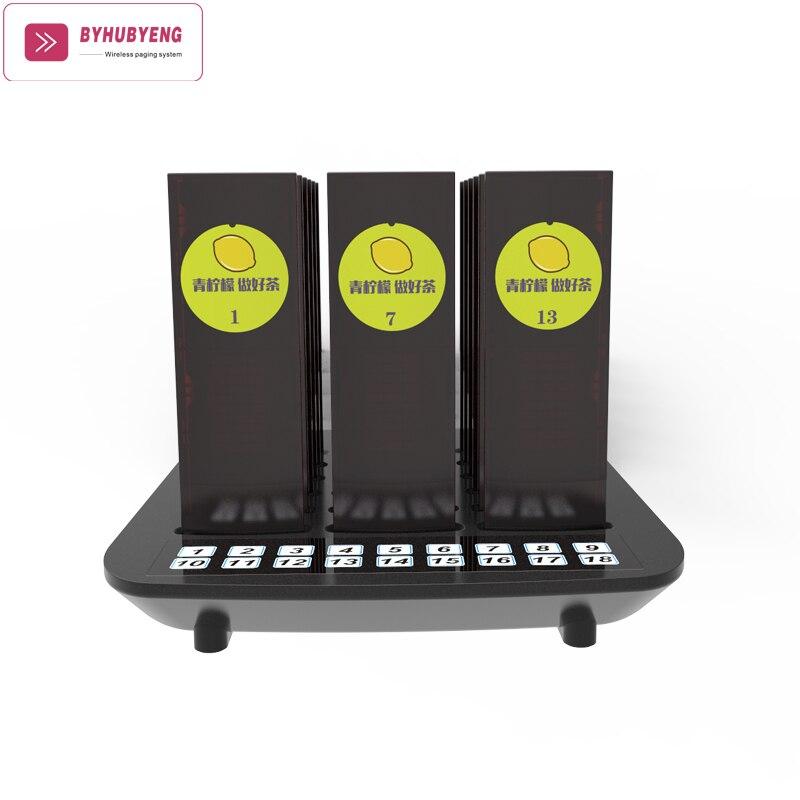 BYHUBYENG sans fil file d'attente système de téléavertisseur pour restaurant système de pagination électronique 18 pièces téléavertisseurs avec flash bip secouer appel buzzer