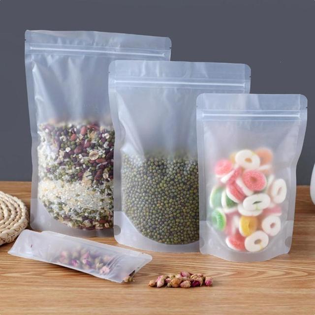 Transparent Food Bag with Zip Closure 10 Pieces Set