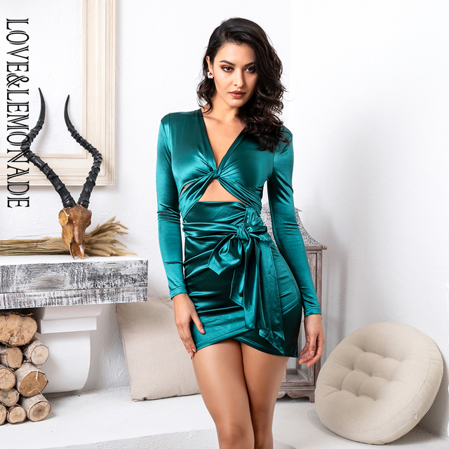 43a4129f09 US $32.63 14% OFF|Love&Lemonade Deep V Neck Cut Out Shoulder Pad Slim Fit  Long Sleeve Party Dress LM81565 GREEN-in Dresses from Women's Clothing on  ...