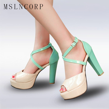 plus Size 34-43 high heel platform sandals women sexy footwear fashion lady shoes Super High Heel Party Open Toe Sandals Pumps цены онлайн