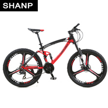 Lauxjack Mountain Bike Full Suspension Frame Steel Brake Disc Mechanical 24 Speed Shimano 26 alloy Wheels