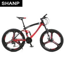 "Lauxjack Mountain Bike Full Suspension Body Metal Brake Disc Mechanical 24 Pace Shimano 26 ""alloy Wheels"