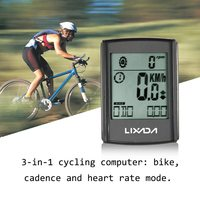 Lixada Multifunctional 3 in 1 Wireless Cycling Computer Stopwatch LCD Bicycle Computer Cadence Heart Rate Monitor Chest Strap