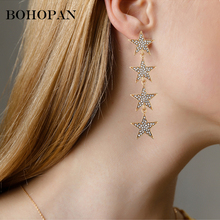1 Pair Fashion Women Stylish Gold/ Silver Color Star Streamlined Tassel Long Crystal Earrings Women Girl Jewelry Christmas gifts