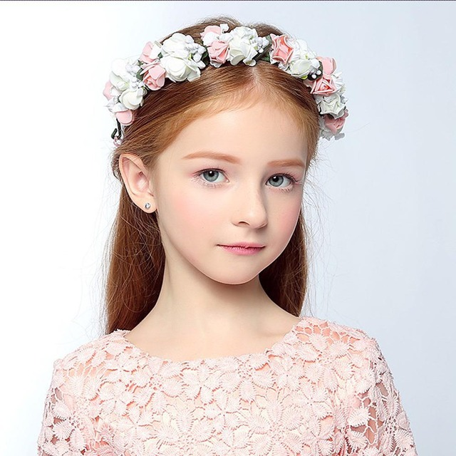 Girls Fashion Bohemia Style Rose Flower Hairband Lovely Floral Kids Crown Headband Wedding Party