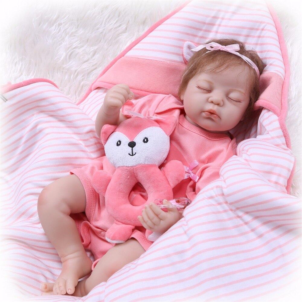 NPK 55 cm 22 pouces reborn bébé poupée en silicone souple vinyle reborn bébé fille poupées bebes reborn bonecas jouer maison jouets cadeau pour les filles-in Poupées from Jeux et loisirs    2